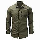 hesapli Erkek Gömlekleri-Erkek Gömlek Solid Temel AB / ABD Beden Havuz / Uzun Kollu