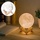 זול ה לד תאורה חכמה-1pc MOON מנורת לילה לבן חם / לבן / צהוב USB לילדים / נטענת / Spottivalo סוללה / <5 V