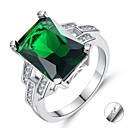 זול שרשראות חרוטות-מותאם אישית מותאם אישית ירוק זירקונה מעוקבת טבעת זירקון קלאסי חרות מתנה הבטחה פֶסטִיבָל ריבוע 1pcs תלתן / חריתת לייזר