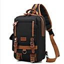 hesapli Erkek Çocuk Çantaları-Erkek Fermuar Sling Omuz Çantaları Tuval Siyah / Gri