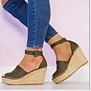 hesapli Kadın Topukluları-Kadın's Sandaletler Dolgu Topuk Yuvarlak Uçlu Kanvas Yaz Siyah / Deve / Ordu Yeşili