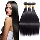 povoljno Ekstenzije od prave kose prirodne boje-3 paketa Brazilska kosa Ravan kroj Remy kosa Ljudske kose plete 8-28 inch Priroda Crna Isprepliće ljudske kose Proširenja ljudske kose / 10A