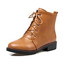 hesapli Kadın Atletik Ayakkabıları-Kadın's Çizmeler Kalın Topuk Yuvarlak Uçlu PU Bootiler / Bilek Botları İngiliz / Çıtı Pıtı Sonbahar Kış Siyah / Kahverengi / Bej