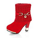 hesapli Kadın Botları-Kadın's Çizmeler Kalın Topuk Yuvarlak Uçlu Toka Örgü Bootiler / Bilek Botları Vintage Yürüyüş Kış Siyah / Kırmzı