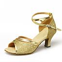 hesapli Latin Dans Ayakkabıları-Kadın's Dans Ayakkabıları Sentetikler Latin Dans Ayakkabıları Payet / Parıltı Topuklular Küba Topuk Kişiselleştirilmiş Fuşya / Gümüş / Mavi / Performans / Deri