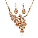 זול סט תכשיטים-בגדי ריקוד נשים זירקונה מעוקבת סטי תכשיטי כלה קלאסי בָּרוּך קלסי עגילים תכשיטים זהב / לבן עבור חתונה Party 1set