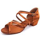 זול נעליים לטיניות-בנות נעלי ריקוד סטן נעליים לטיניות עקבים עקב עבה שחור / חום כהה / הצגה / עור