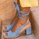 hesapli Kadın Sandaletleri-Kadın's Sandaletler Kalın Topuk Burnu Açık Toka Süet İlkbahar & Kış / Yaz Bej / Kahverengi / Mavi