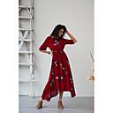 זול חליפות שני חלקים לנשים-מקסי Ruched דפוס, פרחוני - שמלה נדן סווינג בסיסי בוהו בגדי ריקוד נשים