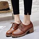 hesapli Kadın Oxford Ayakkabıları-Kadın's Oxford Modeli Kalın Topuk PU İlkbahar & Kış Siyah / Beyaz / Kahverengi
