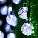 preiswerte Echthaar Strähnen-6.8m Leuchtgirlanden 30 LEDs Warmes Weiß / Weiß / Mehrfarbig Solar / Dekorativ Solarbetrieben 1 set