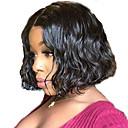 abordables Perruques Naturelles Dentelle-Perruque Cheveux Naturel humain Lace Frontale Cheveux Brésiliens Ondulé Noir Bob Coupe Carré Court Bob Partie latérale Femme Densité 130% avec des cheveux de bébé Ligne de Cheveux Naturelle Pour