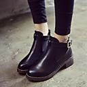 hesapli Kadın Atletik Ayakkabıları-Kadın's Çizmeler Kalın Topuk Yuvarlak Uçlu Toka PU Bootiler / Bilek Botları İngiliz Yürüyüş İlkbahar yaz / Sonbahar Kış Siyah / Şarap / Kahverengi