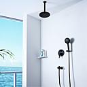 hesapli Duş Muslukları-Siyah duş musluk-çağdaş duvar montaj seramik vana banyo duş bataryası musluk