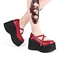 זול מקרנים-פאנק עקב טריז נעליים אחיד 10 cm CM שחור / חום / אדום עבור בגדי ריקוד נשים עור פוליאוריתן תחפושות ליל כל הקדושים