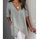 abordables Collier-Tee-shirt Grandes Tailles Femme, Couleur Pleine Mosaïque Basique Col en V Ample Gris
