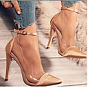 hesapli Kadın Sandaletleri-Kadın's Sandaletler Stiletto Topuk Kapalı Burun Toka PU Bootiler / Bilek Botları Yaz Siyah / Fuşya / Açık Pembe