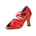 povoljno Cipele i torbe-Žene Saten Cipele za latino plesove Isprepleteni dijelovi Štikle Kubanska potpetica Moguće personalizirati Crvena