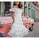 זול שמלות שושבינה-סירה מתחת לכתפיים א-סימטרי תחרה לגזור, אחיד - שמלה סווינג בסיסי בגדי ריקוד נשים