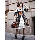 זול שמלות לוליטה-מסורתי / וינטג' Klassinen רוקוקו שמלות חולצה בנות נקבה Japanese תחפושות Cosplay שחור אחר וינטאג' תחרה שרוול התלקחות חצי שרוול באורך  הברך