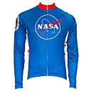 povoljno Biciklističke majice-21Grams American / USA NASA Muškarci Dugih rukava Biciklistička majica - Red+Blue Bicikl Majice UV otporan Prozračnost Ovlaživanje Sportski Terilen Brdski biciklizam biciklom na cesti Odjeća