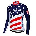 povoljno Biciklističke majice i kompleti-WEIMOSTAR American / USA Državne zastave Muškarci Dugih rukava Biciklistička majica - Red+Blue Bicikl Biciklistička majica Majice UV otporan Prozračnost Ovlaživanje Sportski Poliester Elastan Terilen