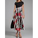 זול צמידים חרוטים-מקסי דפוס, גיאומטרי - שמלה ישרה סגנון רחוב בגדי ריקוד נשים