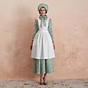hesapli Oktoberfest-Üniformalar Köylü kızı Kıyafetler Çiçek Stil Retro / Vintage Zarif Elbiseler Şapkalar Kıyafetler Kadın's Kostüm şapka Resimde Görüldüğü Gibi Eski Tip Cosplay Şükran Günü Uzun Kollu Maxi A-Şekilli