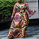 זול סניקרס לנשים-מקסי גיאומטרי משובץ - שמלה ישרה סווינג סגנון רחוב מתוחכם בגדי ריקוד נשים