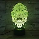 זול אורות 3D הלילה-שינוי צבע לילה אור 7 פרצופי האריה בעלי החיים הוביל אורות לילה מנורת שולחן הוביל 3d כקישוט הבית