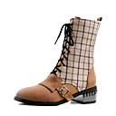 hesapli Kadın Topukluları-Kadın's Çizmeler Kalın Topuk Yuvarlak Uçlu PU Bootiler / Bilek Botları Vintage / İngiliz Sonbahar Kış Siyah / Kahverengi / Parti ve Gece