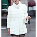povoljno Stole za vjenčanje-Žene Dnevno Osnovni Veći konfekcijski brojevi Normalne dužine Faux Fur Coat, Jednobojni Ruska kragna Dugih rukava Umjetno krzno Crn / Obala