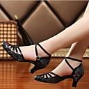 זול נעלי ריקודים ונעלי ריקוד מודרניות-בגדי ריקוד נשים נעלי ריקוד PU נעליים מודרניות עקבים עקב עבה מותאם אישית שחור / כסף