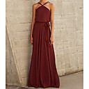 זול שמלות שושבינה-גזרת A קולר עד הריצפה שיפון שמלה לשושבינה  עם קפלים על ידי LAN TING Express