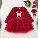 povoljno Božićni kostime-Dijete Djevojčice Osnovni Print / Božić Dugih rukava Haljina Red / Dijete koje je tek prohodalo
