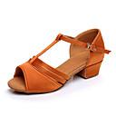 povoljno Cipele za latino plesove-Djevojčice Plesne cipele Saten Cipele za latino plesove Štikle Debela peta Moguće personalizirati Crn / Braon / Zlato