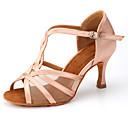 povoljno Cipele za latino plesove-Žene Plesne cipele Saten Cipele za latino plesove Cvijet od satena / Kopča Štikle Deblja visoka potpetica Moguće personalizirati Crn / Badem