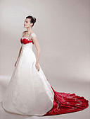 Χαμηλού Κόστους Λουλουδάτα φορέματα για κορίτσια-Γραμμή Α / Πριγκίπισσα Ώμοι Έξω Μακριά ουρά Σατέν Φορέματα γάμου φτιαγμένα στο μέτρο με Διακοσμητικά Επιράμματα / Που καλύπτει με LAN