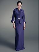 Χαμηλού Κόστους Φορέματα για τη Μητέρα της Νύφης-Ίσια Γραμμή Scoop Neck Μακρύ Σιφόν / Σατέν Φόρεμα Μητέρας της Νύφης με Κρυστάλλινη καρφίτσα με LAN TING BRIDE®
