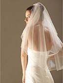 preiswerte Hochzeitsschleier-Zweischichtig Perlenbesetzter Saum Hochzeitsschleier Ellbogenlange Schleier Schleier für kurzes Haar Mit 33,46 in (85cm) Tüll