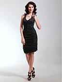 Χαμηλού Κόστους Φορέματα κοκτέιλ-Ίσια Γραμμή Λαιμόκοψη V / Λουριά Κοντό / Μίνι Ταφτάς Μικρό Μαύρο Φόρεμα Κοκτέιλ Πάρτι Φόρεμα με Πιασίματα με TS Couture®
