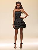 tanie Damska spódnica-Krój A Cienkie ramiączka Krótka / Mini Tafta Mała czarna sukienka Spotkanie towarzyskie Sukienka z Kokardki przez TS Couture®