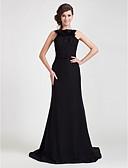 hesapli Gece Elbiseleri-Sütun sapanlar Süpürge / Fırça Kuyruk Şifon Fırfırlı ile Resmi Akşam Elbise tarafından TS Couture® / Açık Sırtlı