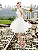 cheap Wedding Dresses-A-Line / Princess Halter Neck Knee Length Chiffon Made-To-Measure Wedding Dresses with Beading / Draping / Sash / Ribbon by LAN TING BRIDE® / See-Through