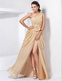 preiswerte Abendkleider-A-Linie Ein-Schulter Boden-Länge Chiffon Formeller Abend Kleid mit Spitze / Vorne geschlitzt durch TS Couture®