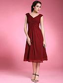 billige Populære kjoler til brudens mor-Kappe / Kolonne Te-lengde Mother of the Bride Dress - Ermeløs Chiffon