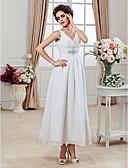 billiga Brudklänningar-A-linje V-hals Ankellång Chiffong Bröllopsklänningar tillverkade med Bård / Veckad / Sidodraperad av LAN TING BRIDE® / Liten vit klänning