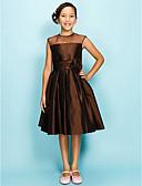 Χαμηλού Κόστους Φορέματα για παρανυφάκια-Γραμμή Α / Πριγκίπισσα Με Κόσμημα Μέχρι το γόνατο Οργάντζα / Ταφτάς Φόρεμα Νεαρών Παρανύμφων με Που καλύπτει / Πιασίματα / Λουλούδι με LAN TING BRIDE® / Άνοιξη / Καλοκαίρι / Φθινόπωρο / Μήλο