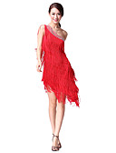 cheap Latin Dance Wear-Latin Dance Dresses Women's Performance Cotton / Polyester Tassel / Crystals / Rhinestones Sleeveless Natural Dress