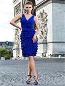 preiswerte Cocktailkleider-Eng anliegend V-Ausschnitt Knie-Länge Chiffon Cocktailparty Kleid mit Überkreuzte Rüschen / Blume / Plissee durch TS Couture®